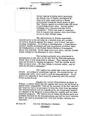 Current Intelligence Bulletin, 29 VI 1956 r., ze zb. CIA FOIA Electronic Reading Room