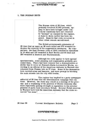 Current Intelligence Bulletin, 30 VI 1956 r., ze zb. CIA FOIA Electronic Reading Room
